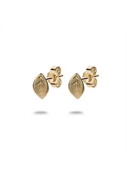 Boucles d'oreilles en argent plaqué or 18ct, petite feuille