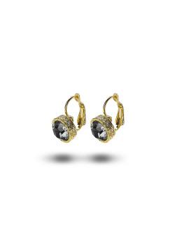 high fashion oorbellen, grijze strass, 10 mm, goudkleur