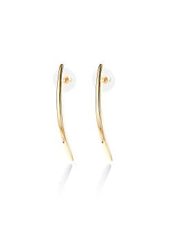 high fashion oorbellen, gebogen staaf, goudkleur