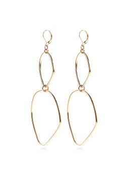 high fashion oorbellen, open geometrische motieven, goudkleur