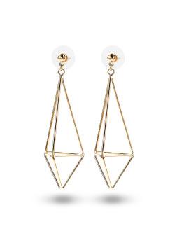 high fashion oorbellen, open 3D motief, goudkleur
