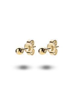 oorbellen in 18kt plaqué goud, bol van 4 mm