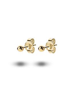 oorbellen in 18kt plaqué goud, bol van 3 mm