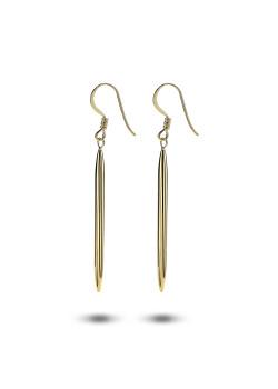 Boucles d'oreilles plaqué or, motif en longueur