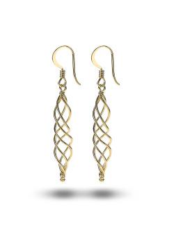 oorbellen in 18kt plaqué goud, open spiraal