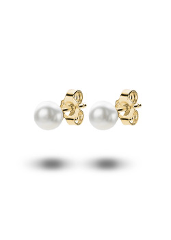 18ct gold plated earrings, a 6 mm pearl