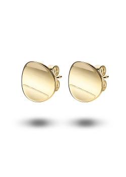 Oorbellen in 18kt plaqué goud, gebogen ronde