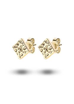 oorbellen in 18kt plaqué goud, vierkant van 7 mm
