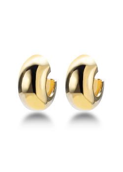 18ct gold plated hoop earrings, 16 mm/8 mm