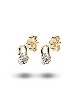 oorbellen in 18kt plaqué goud, zirkonia van 5 mm