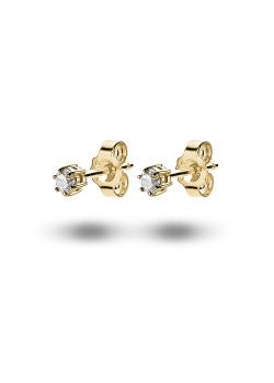oorbellen in 18kt plaqué goud, zirkonia van 3 mm