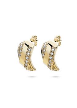 oorbellen in 18kt plaqué goud, zirkonia