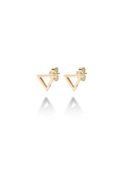 oorbellen in goudkleurig edelstaal, open driehoekje
