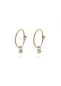 Gold-coloured stainless steel earrings, hoop earring with crystal