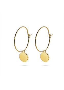 Gold-coloured stainless steel earrings, hoop earring with round