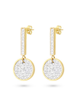 Gold-coloured stainless steel earrings, bar and round, white crystals