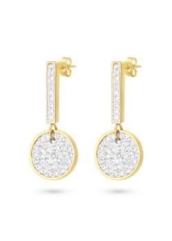 Oorbellen in goudkleurig edelstaal, staafje met ronde, witte kristallen