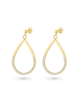 Gold-coloured stainless steel earrings, open drop, white crystals