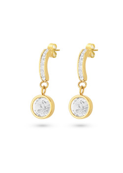 Gold-coloured stainless steel earrings, half hoop earring, round, white crystals
