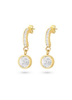 Oorbellen in goudkleurig edelstaal, halve oorring, rondje, witte kristallen