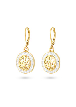 Gold-coloured stainless steel earrings, open oval with flowers, white crystals