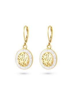 Oorbellen in goudkleurig edelstaal, open ovaal met bloemen, witte kristallen