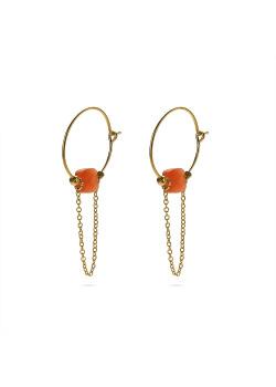 Oorbellen in goudkleurig edelstaal, oorring met ketting en oranje steentje