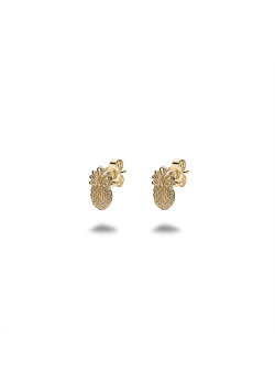 18ct gold plated silver earrings, pineapple