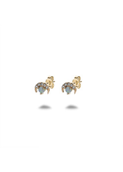 18ct gold plated earrings, moon, blue stone
