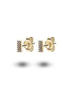 Boucles d'oreilles en argent plaqué or 18ct, rectangle pavé de zircons