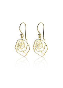 18ct gold plated silver earrings, open flower