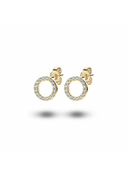18ct gold plated silver earrings, 10 mm circle, zirconia