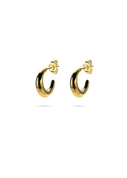 Boucles d'oreilles en plaqué or 18ct, anneaux, forme de lune