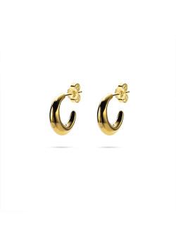 18ct gold plated earrings, hoop earring, moon shaped