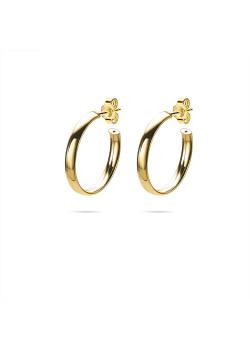 Boucles d'oreilles en argent plaqué or 18ct, anneaux 23 mm