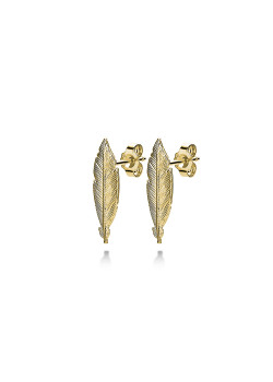 18ct gold plated silver earrings, feather motif