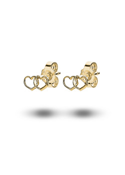 18ct gold plated silver earrings, duo of hearts