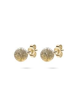 boucles d'oreilles en argent plaqué or 18ct, boule martelée