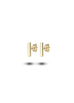 18ct gold plated silver earrings, 10 mm/2 mm bar