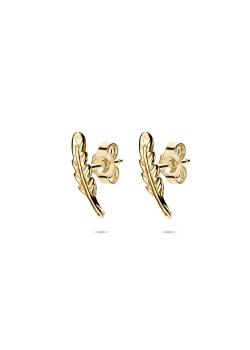 Boucles d'oreilles en argent plaqué or 18ct, plume