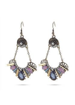 High fashion Oorbellen, koperkleur, blauw, paarse steentjes