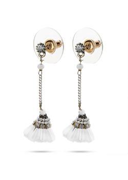 High fashion Oorbellen, koperkleurige, witte floche
