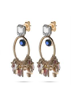 High fashion Oorbellen, koperkleurige open ovaal, blauw, wit, paarse steentjes