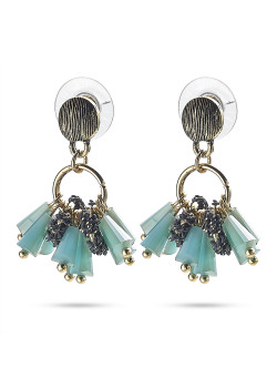High fashion Oorbellen, koperkleur, turquoise steentjes