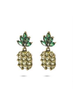 Boucles d'oreilles haute fantaisie, ananas avec pierres