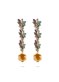 High fashion earrings, oranje zeshoek, ellipsen in bruin, paars en blauw