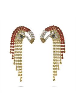 High fashion Oorbellen, papegaai, rood, wit, goudkleurig
