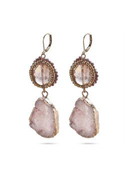 High fashion Oorbellen, 2 ovale stenen, roze, paars, rosé
