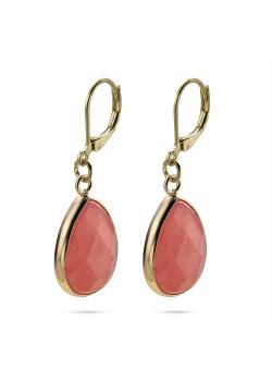 High fashion Oorbellen, roze druppel aan goudkleurige haak