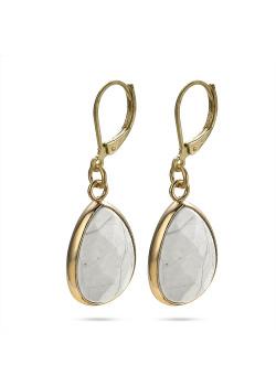 High fashion Oorbellen, wit-grijze druppel aan goudkleurige haak